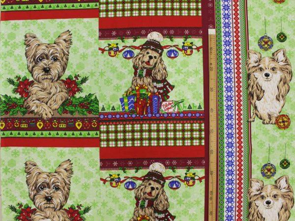 """Фото 3 - Вафельное полотно """"Собачки"""" зеленое, 1 купон - 60 см."""