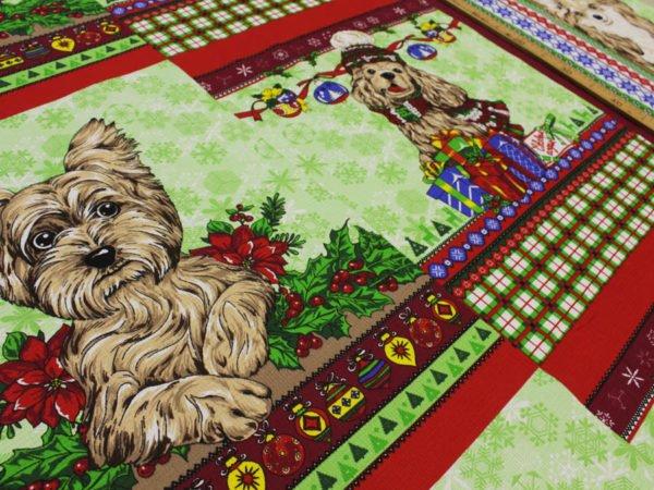 """Фото 5 - Вафельное полотно """"Собачки"""" зеленое, 1 купон - 60 см."""
