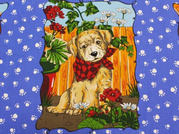 """Фото 5 - Вафельное полотно """"Собачки"""" голубое, 1 купон - 60 см."""