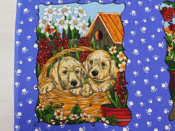 """Фото 6 - Вафельное полотно """"Собачки"""" голубое, 1 купон - 60 см."""