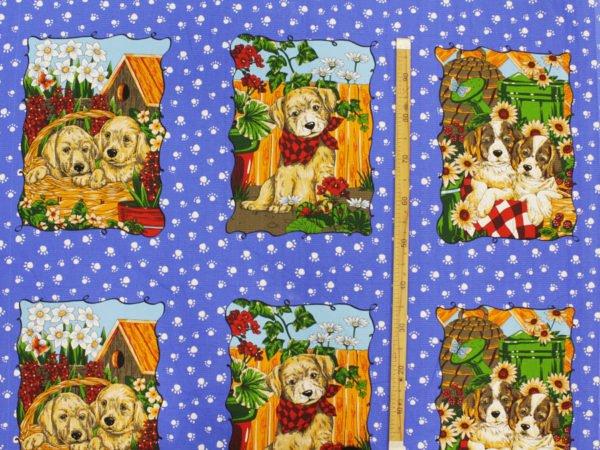 """Фото 3 - Вафельное полотно """"Собачки"""" голубое, 1 купон - 60 см."""