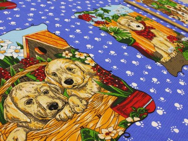 """Фото 7 - Вафельное полотно """"Собачки"""" голубое, 1 купон - 60 см."""