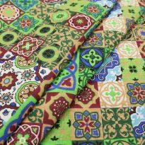 """Ткань плательная """"Персидские мотивы"""" зеленая"""
