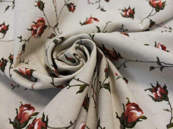 """Льняная набивная ткань """"зайцевская роза""""-2"""
