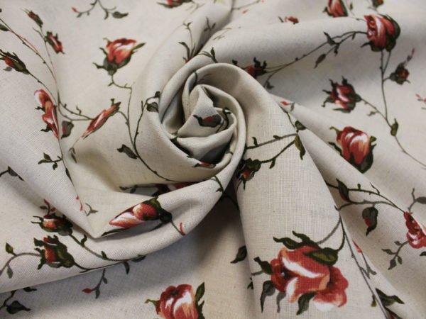 """Фото 5 - Льняная набивная ткань """"зайцевская роза""""-2."""