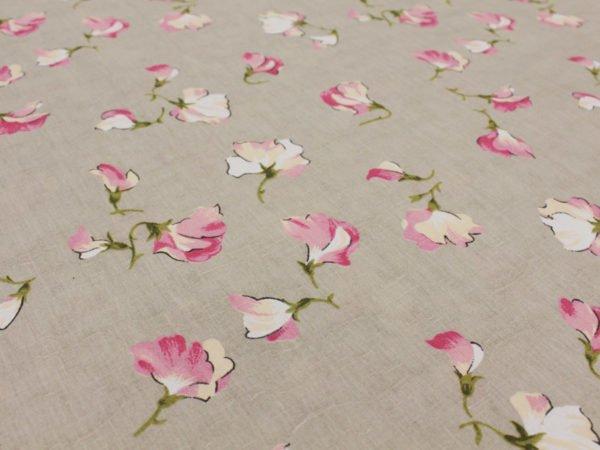 """Фото 8 - Ткань льняная жаккардовая  """"Душистый горошек"""" розовый."""