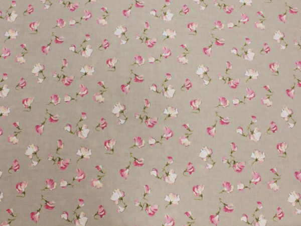 """Фото 5 - Ткань льняная жаккардовая  """"Душистый горошек"""" розовый."""