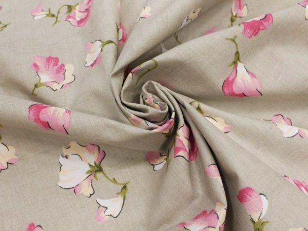 """Фото 4 - Ткань льняная жаккардовая  """"Душистый горошек"""" розовый."""