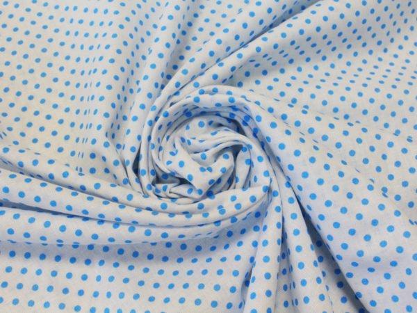 Фото 3 - Поплин голубой  горошек  на белом.