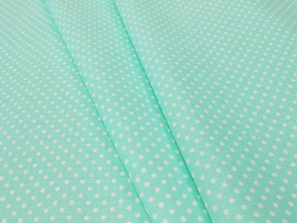 Фото 3 - Ткань плательная очень мелкий  горох  на мятном.