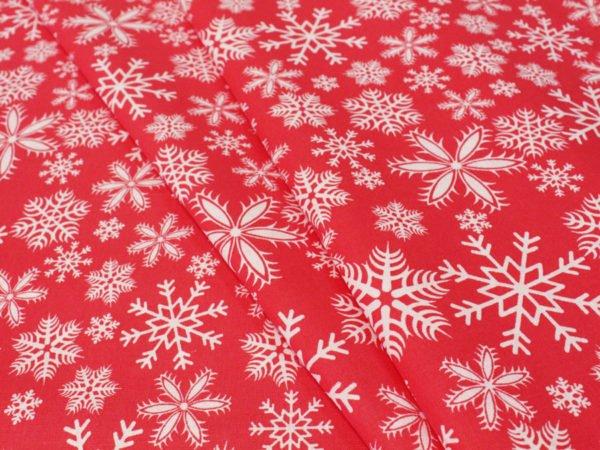 """Фото 3 - Поплин """"Снежинки красные""""."""