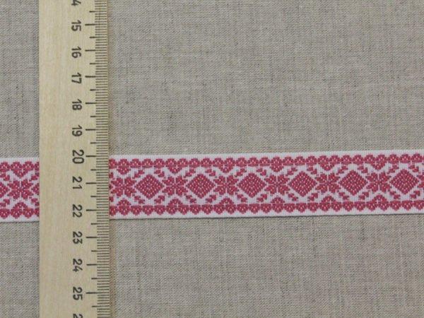 """Фото 6 - Лента отделочная  """"Снежинка"""" белый с  розовый  23мм."""