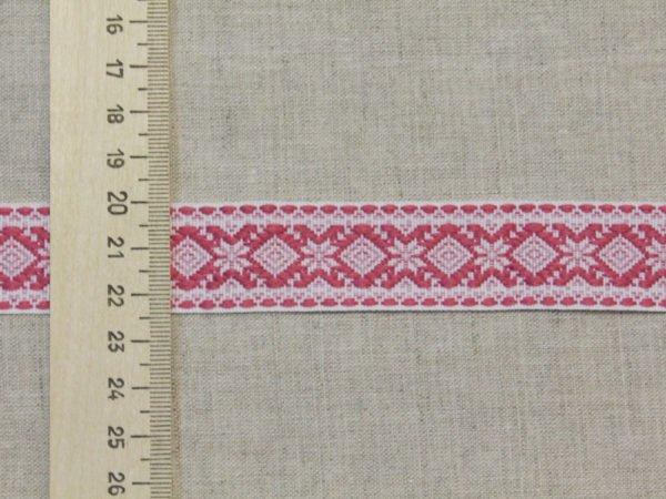 """Фото 7 - Лента отделочная  """"Снежинка"""" белый с  розовый  23мм."""