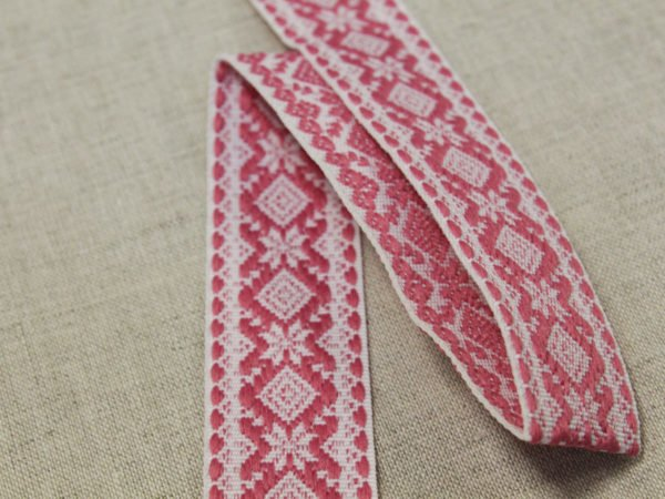 """Фото 5 - Лента отделочная  """"Снежинка"""" белый с  розовый  23мм."""