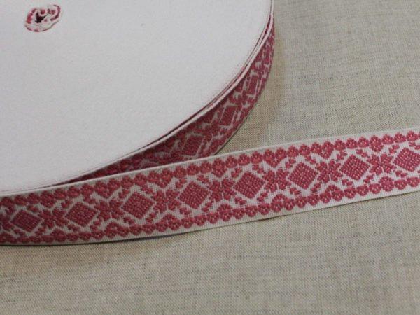 """Фото 3 - Лента отделочная  """"Снежинка"""" белый с  розовый  23мм."""