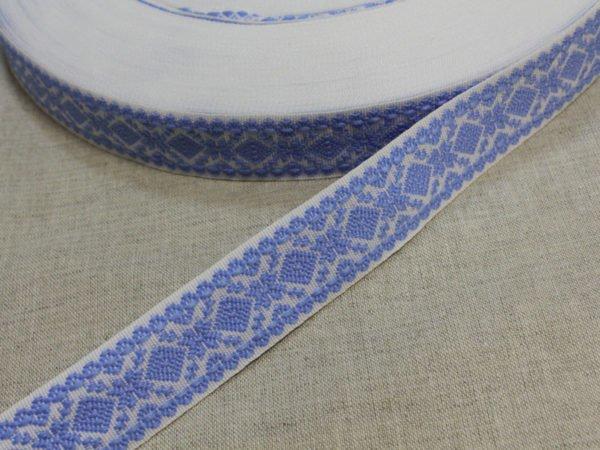 """Фото 3 - Лента отделочная  """"Снежинка"""" белый с  голубым  23мм."""