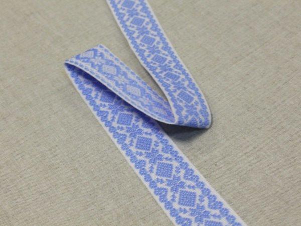 """Фото 6 - Лента отделочная  """"Снежинка"""" белый с  голубым  23мм."""