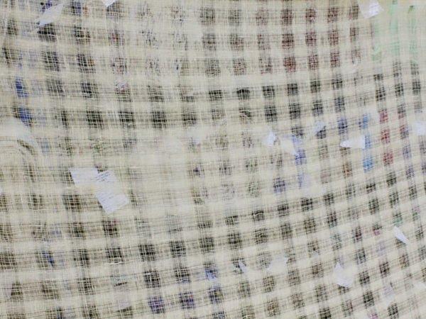 Фото 9 - Ткань декоративная (клетка редкая, молочная).