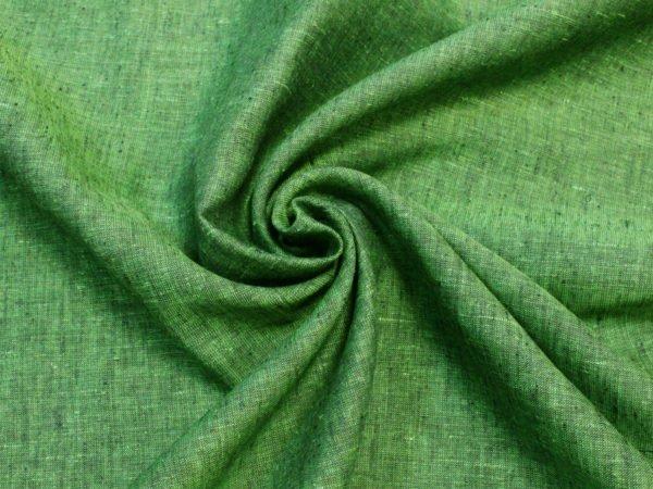 Фото 10 - Льняная ткань зеленая, ширина 2.6м лен 100%.