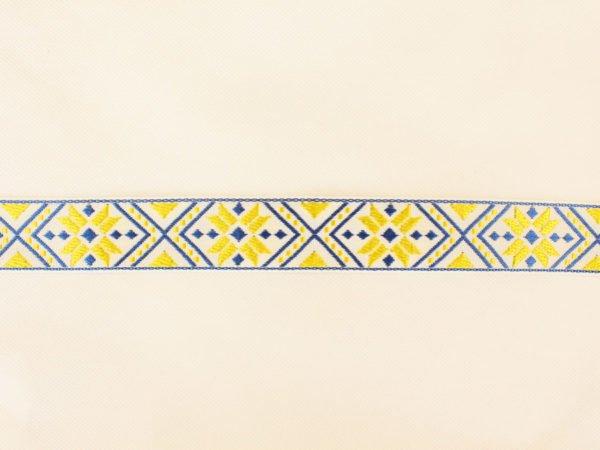 Фото 6 - ЛЕНТА ОТДЕЛОЧНАЯ ЖАККАРД белый,т-синий,желтый 32мм.