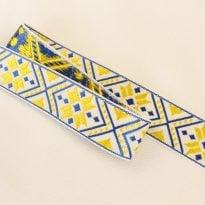 ЛЕНТА ОТДЕЛОЧНАЯ ЖАККАРД белый,т-синий,желтый 32мм