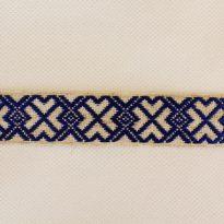Фото 19 - Лента отделочная  лен с синим 23 мм.