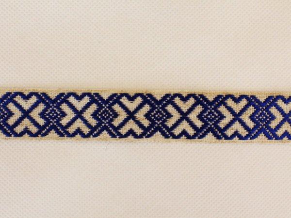 Фото 3 - Лента отделочная  лен с синим 23 мм.