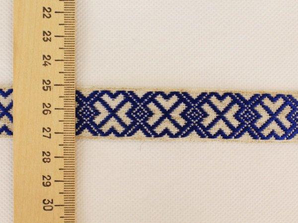 Фото 6 - Лента отделочная  лен с синим 23 мм.