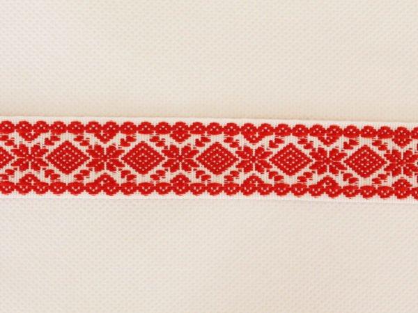 """Фото 3 - Лента отделочная  """"Снежинка"""" белый с красным  23мм."""