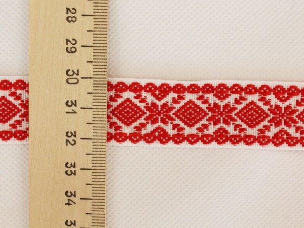 """Фото 5 - Лента отделочная  """"Снежинка"""" белый с красным  23мм."""