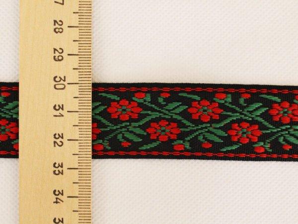 Фото 5 - Лента отделочная жаккард (черный, красный, зеленый) 26мм.
