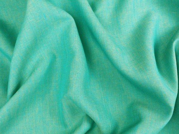 Ткань льняная, ширина 2.6 м, лен-100% бирюзовая меланжевая