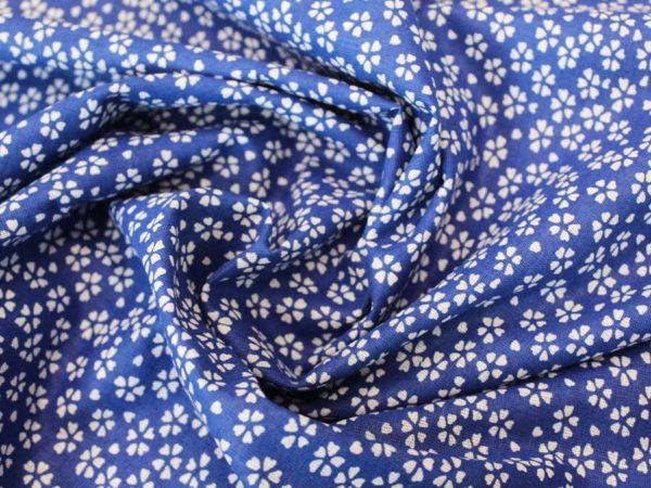 Ситец набивной плательный синий ширина 80 см