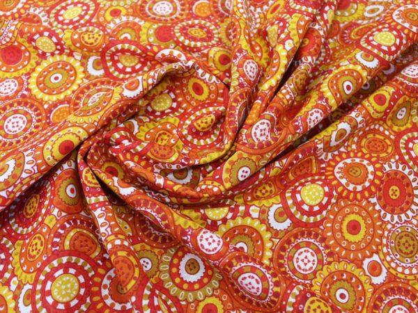 Фото 5 - Ситец набивной ОМ плательный оранжевый Шуя ширина 80см.