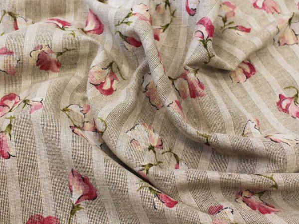"""Ткань портьерная (сетка) рисунок """"Душистый горошек розовый"""""""