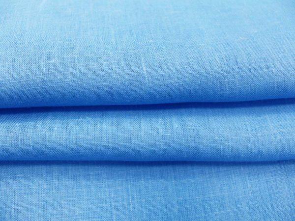 Фото 6 - Ткань костюмная голубая лен 100%.
