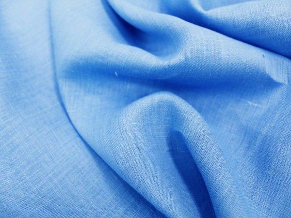 Фото 5 - Ткань костюмная голубая лен 100%.