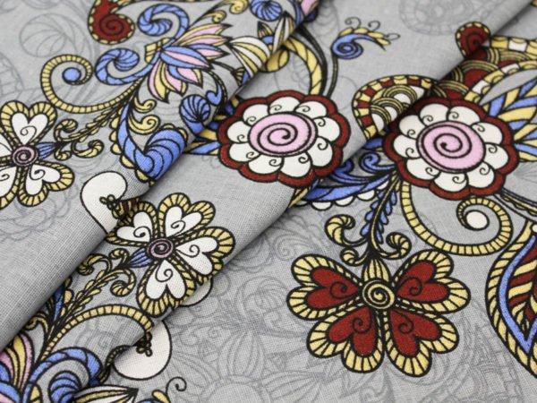 """Фото 3 - Льняная ткань """"Восточный сад"""" (серая, грунт)."""