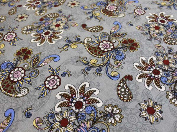 """Фото 8 - Льняная ткань """"Восточный сад"""" (серая, грунт)."""