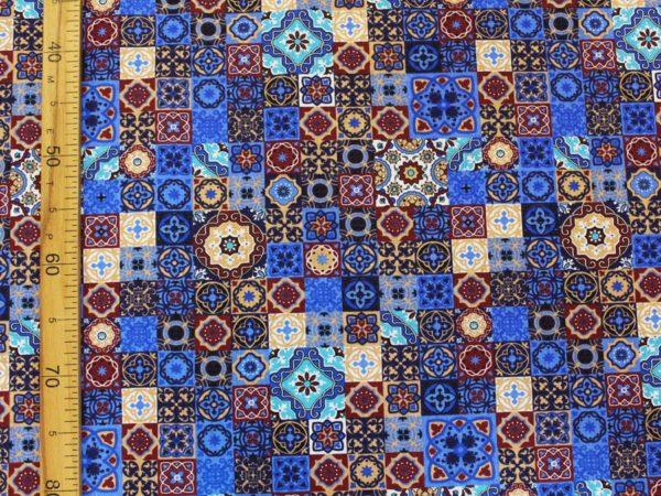 """Фото 6 - Ткань плательная  """"Персидские  мотивы"""" синяя."""