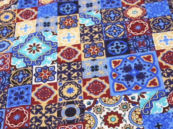 """Фото 7 - Ткань плательная  """"Персидские  мотивы"""" синяя."""