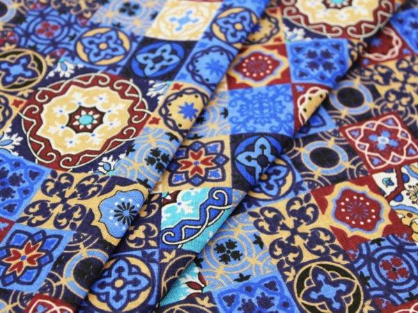 """Фото 3 - Ткань плательная  """"Персидские  мотивы"""" синяя."""