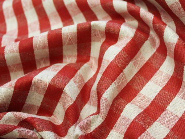 Фото 6 - Ткань льняная жаккардовая клетка красная.