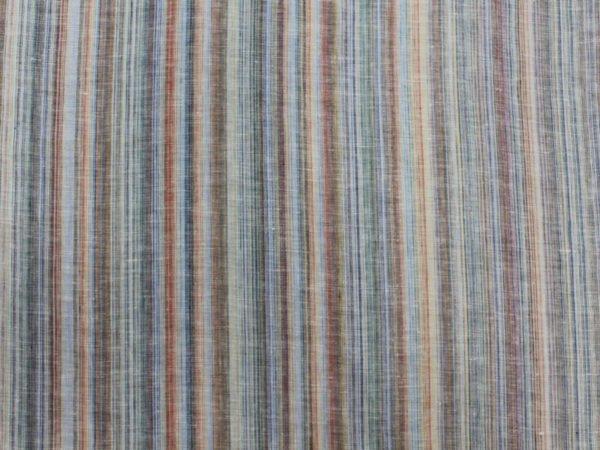Ткань льняная сорочечная, лён 100% , цветная  полоска