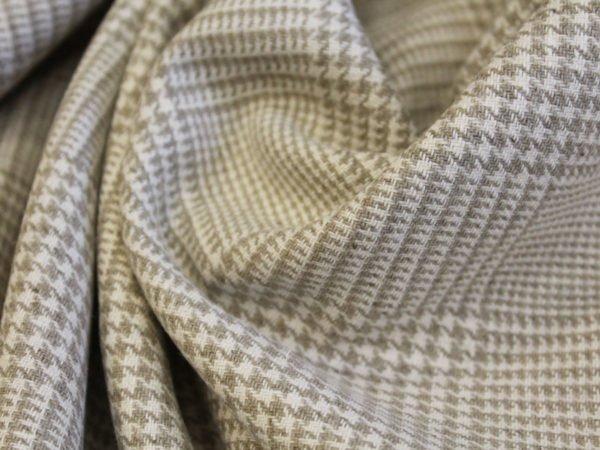 Ткань льняная костюмная  в клетку гленчек, лен 100%