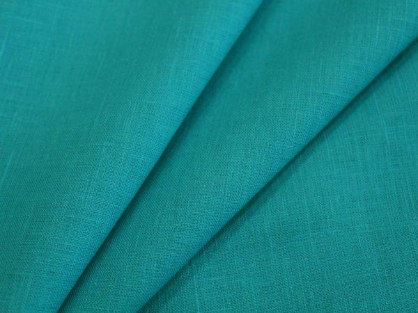 Фото 3 - Ткань льняная умягченная бирюзовая лен 100%.
