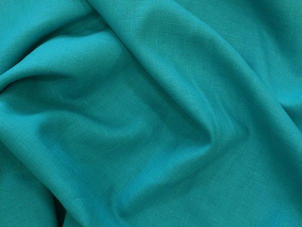 Фото 6 - Ткань льняная умягченная бирюзовая лен 100%.