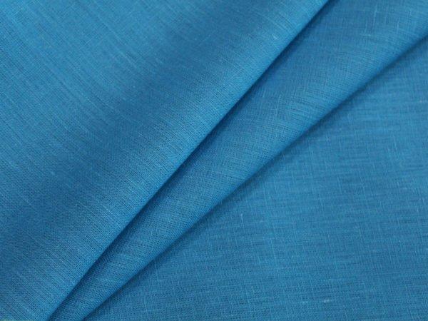 Фото 3 - Ткань лен 100% ярко-голубой умягченный.