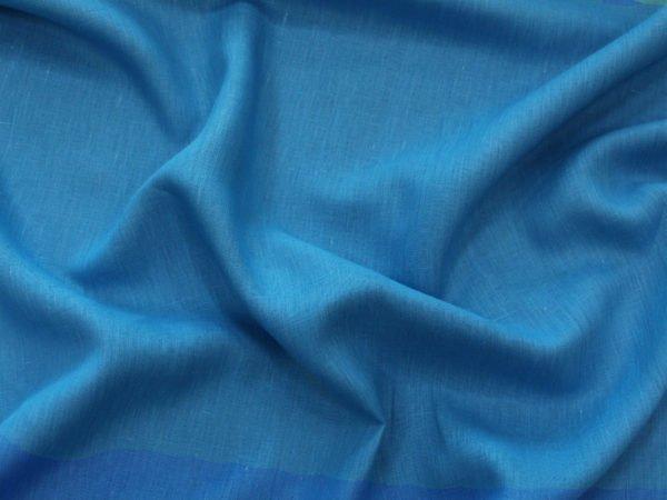 Фото 7 - Ткань лен 100% ярко-голубой умягченный.