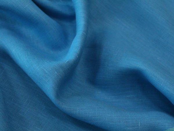 Фото 5 - Ткань лен 100% ярко-голубой умягченный.